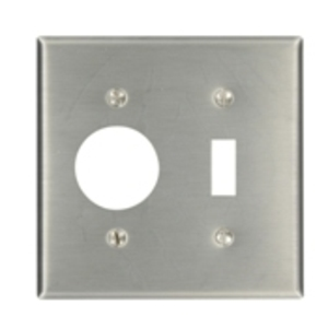 "Leviton 84007 2-Gang, 1.406"" Combination, Stainless Steel"