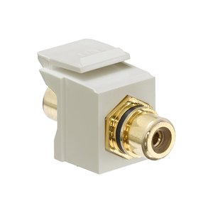Leviton 40830-BIE Speaker Snap-In Adapter, RCA, Gold/Black Stripe/Ivory
