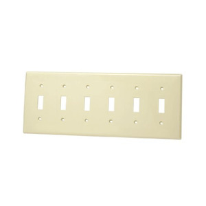 Leviton 86036 Toggle Switch Wallplate, 6-Gang, Thermoset, Ivory