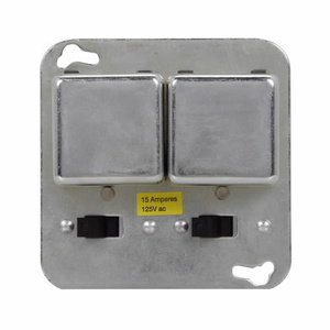 "Eaton/Bussmann Series SCY Plug Fuse, Cover Unit, 4"" Square, Double, Switched, 15A, 125VAC"