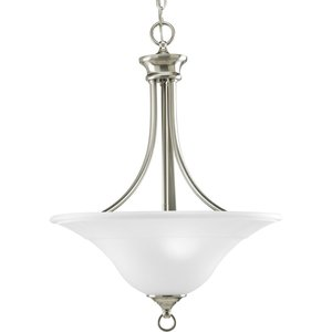 Progress Lighting P3474-09 Pendant, 3-Light, 100W, Brushed Nickel
