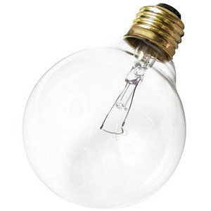 Satco A3648 Incandescent Bulb, G25, 40W, 130V, Clear