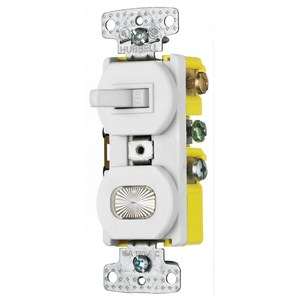 Hubbell-Wiring Kellems RC109W Switch/Pilot Light Combo, 15A, White