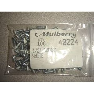 "Mulberry Metal 40224 Wallplate Screws, #6-32 x 1/2"", Slotted, Painted White, Box of 1000"