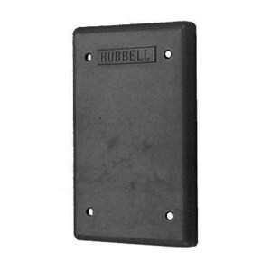 Hubbell-Wiring Kellems HBL6087 Weatherproof Cover, Blank, Black, Phenolic