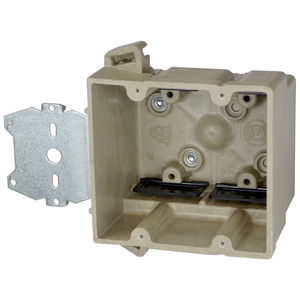 "Allied Moulded 2300-Z2 Switch/Outlet Box with Bracket, Depth: 3"", 1-Gang, Non-Metallic"