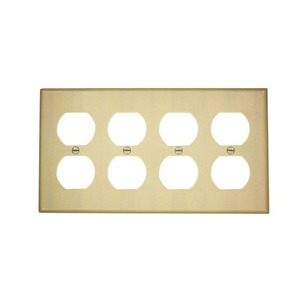 Leviton 86041 Duplex Receptacle Wallplate, 4-Gang, Thermoset, Ivory