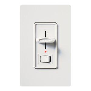 Lutron S-603PNL-WH Slide Dimmer, Locator Light, Rocker Switch, White