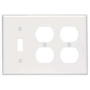 Leviton 88047 Comb. Wallplate, 3-Gang, (1) Toggle, (2) Duplex, Themoset, White