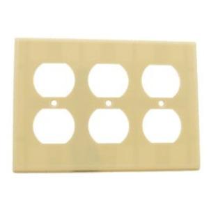 Leviton 86030 Duplex Receptacle Wallplate, 3-Gang, Thermoset, Ivory
