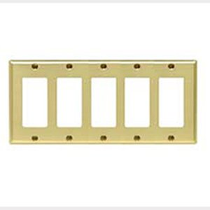 Mulberry Metal 64405 Decora Wallplate, 5-Gang, Polished Brass