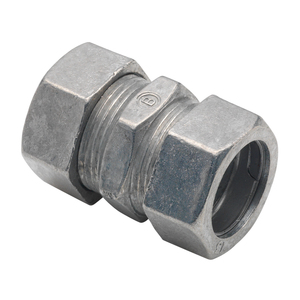 "Bridgeport Fittings 260-DC EMT Compression Coupling, 1/2"", Zinc Die Cast, Concrete Tight"