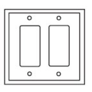 Eaton Wiring Devices PJ262W Decora Wallplate, 2-Gang, Plastic, White, Midsize