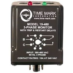 Time Mark 19-208/240 Power Monitor, 208/240VAC, Phase Loss, Low Voltage, Phase Reversal