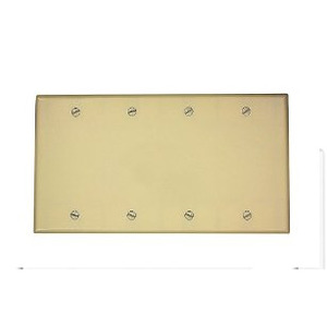 Leviton 86064 Blank Wallplate, 4-Gang, Thermoset, Ivory, Standard, Box Mount