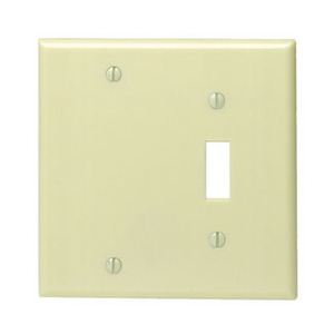 Leviton 86006 Combo Wallplate, 2-Gang, Toggle/Blank, Thermoset, Ivory, Standard