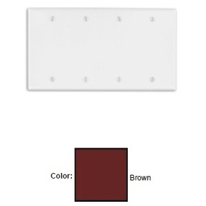Leviton 85064 Blank Wallplate, 4-Gang, Thermoset, Brown, Standard, Box Mount