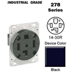 Leviton 278 30 Amp Flush Mount Receptacle, 125/250V, 14-30R