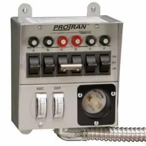 Reliance Controls 30216A Transfer Switch, Manual, 30A, 120/240VAC, 6 Spaces, 7.5kW