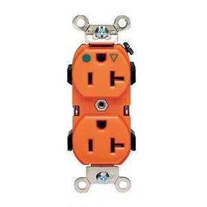 Leviton 8300-OIG Hospital Grade Duplex Receptacle, 20A, 125V, Orange, Narrow