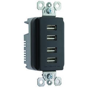 ON-Q TM8USB4-BKCC6 DECORATOR COMBO QUAD USB 4.2A BK