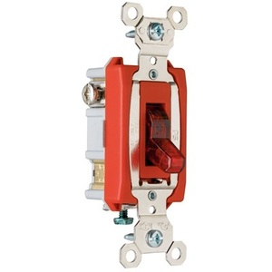 Pass & Seymour PS20AC1-RPL7 Pilot Light Switch, 20A, 120V, Red, Lighted when ON