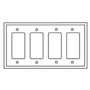 Eaton Wiring Devices PJ264W Decora Wallplate, 4-Gang, Plastic, White, Midsize