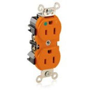 Leviton 8200-IG Hospital Grade Duplex Isolated Ground Receptacle, 15A, 125V, Orange