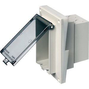Arlington DBVR141W Weatherproof-In-Use Box, 1-Gang, Recessed, Vertical, Non-Metallic