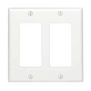 Leviton 80409-NW Decora Wallplate, 2-Gang, Nylon, White