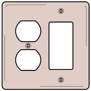 Hubbell-Bryant NP826W Comb. Wallplate, 2-Gang, Duplex/Decora, Nylon, White, Standard