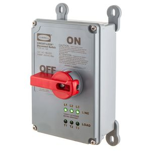 Hubbell-Wiring Kellems HBLDS3P Disconnect Switch, Rotary, 30A, 600VAC, 3P, Non-Metallic, w/ LEDs