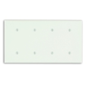 Leviton 86057 Blank Wallplate, 4-Gang, Thermoset, Ivory, Standard, Strap Mount