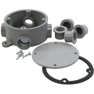 "Cantex 5133690 Junction Box, Round, 1/2"" and 3/4"" Hubs, Depth: 2.15"", PVC"