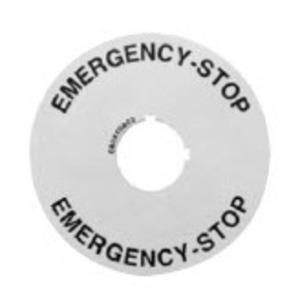 GE 080XTGR02 Pilot Device, Legend Plate, Round, Emergency Stop, 22mm