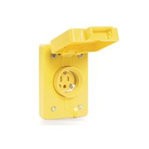 Woodhead 67W47 Locking Receptacle w/Coverplate, Watertight, 20A, 125V