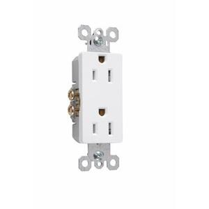 Pass & Seymour 885-W Decora Duplex Receptacle, 15A, 125V, White, 5-15R