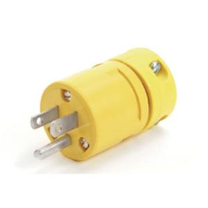 Woodhead 2447 Locking Plug, 15A, 125V, Yellow, Male, 2P3W