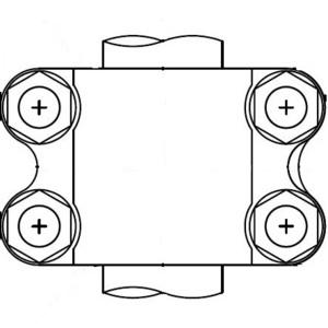 """Penn-Union RXTVB16250H4 Tee Connector Assembly, 1-5/8 x 5-5/8 x 3 1/8"""""""
