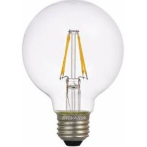 SYLVANIA LED4.5G25DIM827FILG2RP LED Filament Lamp, 4.5W, G25, 2700K, 450 Lumen, 120V, Clear