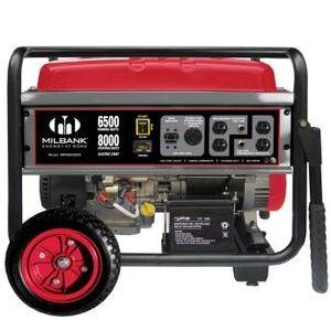 Milbank MPG65002E Generator, Portable, 6.5kW, 27A, 240VAC, 1PH, 3600RPM, Gas