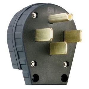 Pass & Seymour 3867 Angled Plug, 30/50A, 125/250V, 14-30P/14-50P, Black