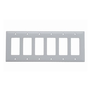 Pass & Seymour TP266-W 6-Gang, Decora Wall Plate, White