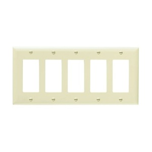 Pass & Seymour TP265-W 5-Gang, Decora Wall Plate, White