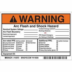 """Brady 145972 Write-On, Arc Flash and Shock Hazard Label, 4""""x6"""""""