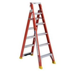 Werner Ladder DP6206 Dual Purpose Ladder, Fiberglass, 6' Stepladder, 14' Extension
