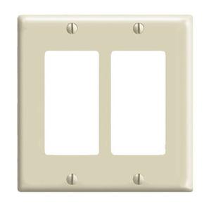 Leviton 80409-NI Decora Wallplate, 2-Gang, Nylon, Ivory