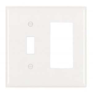 Pass & Seymour TP126-W 2-Gang Wallplate, Decora/Toggle, Nylon, White
