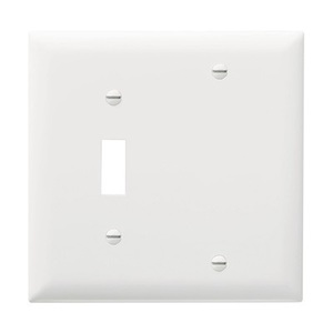 Pass & Seymour TP113-W Wallplate, 2-Gang, Toggle/Blank, Nylon, White