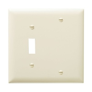 Pass & Seymour TP113-LA Wallplate, 2-Gang, Toggle/Blank, Nylon, Light Almond